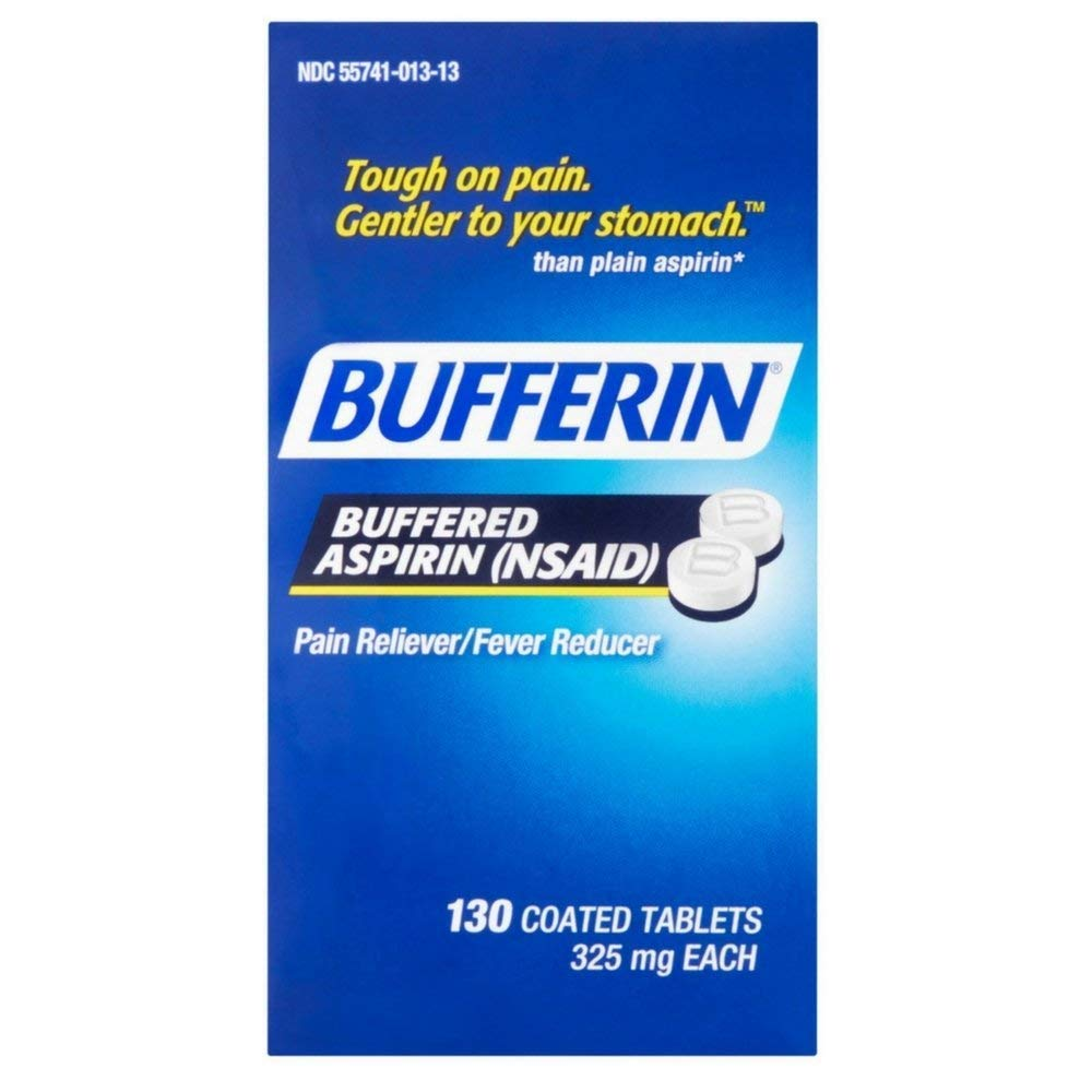 Bufferin Buffered Aspirin (NSAID) Coated Tablets Pain Reliever/Fever Reducer 130 ea (Pack of 4) by BUFFERIN