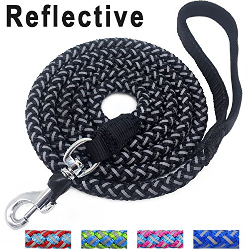 Mycicy Mountain Climbing Rope Dog Leash - 6 Foot Reflective Nylon Braided Heavy Duty Dog Training Leash for Large and Medium Dogs Walking Leads (6ft, Black)