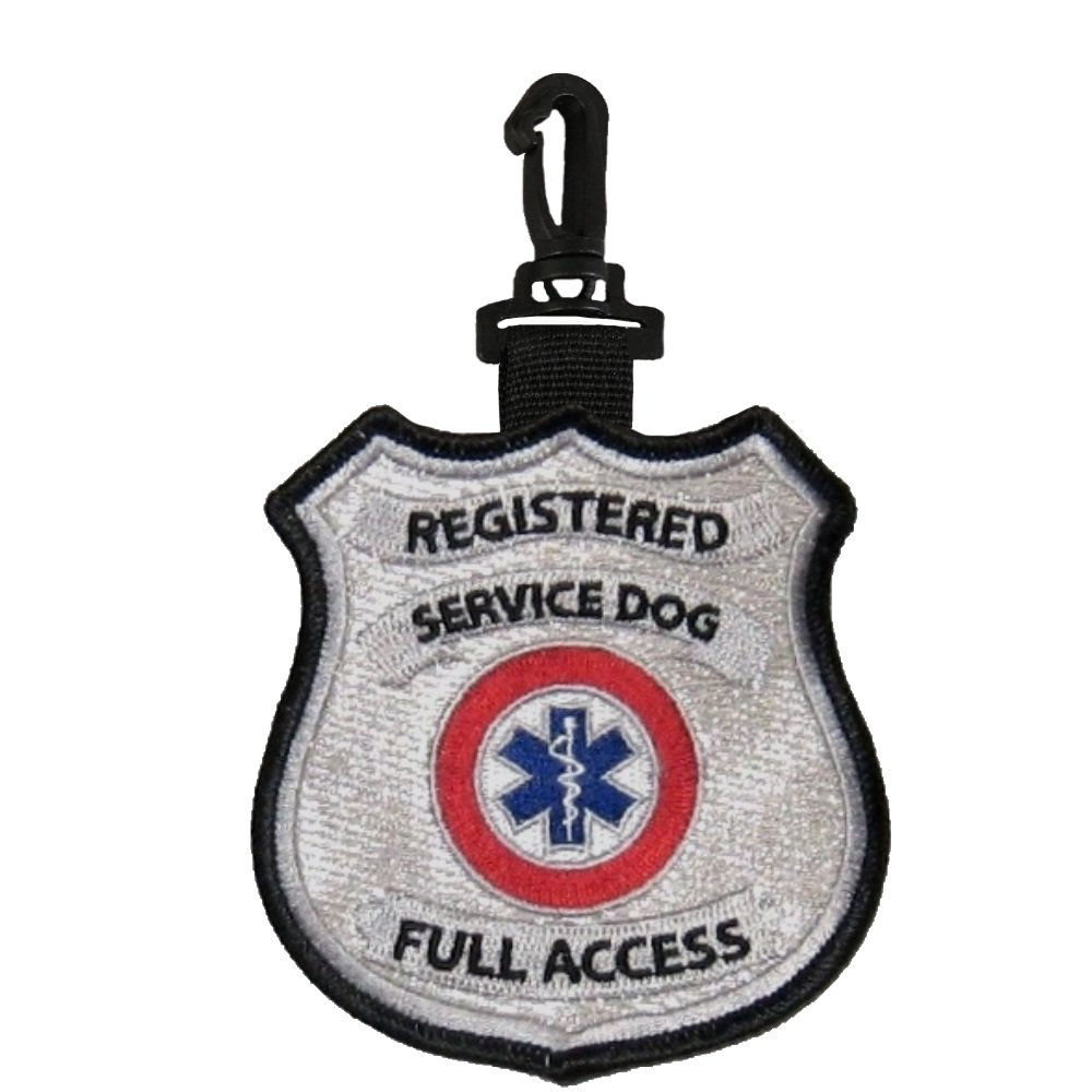 """Registered Service Dog"" Clip on Identification Hanging Patch Tag – Clips onto a Service Dog Vest, Harness, Collar, Leash or Carrier."