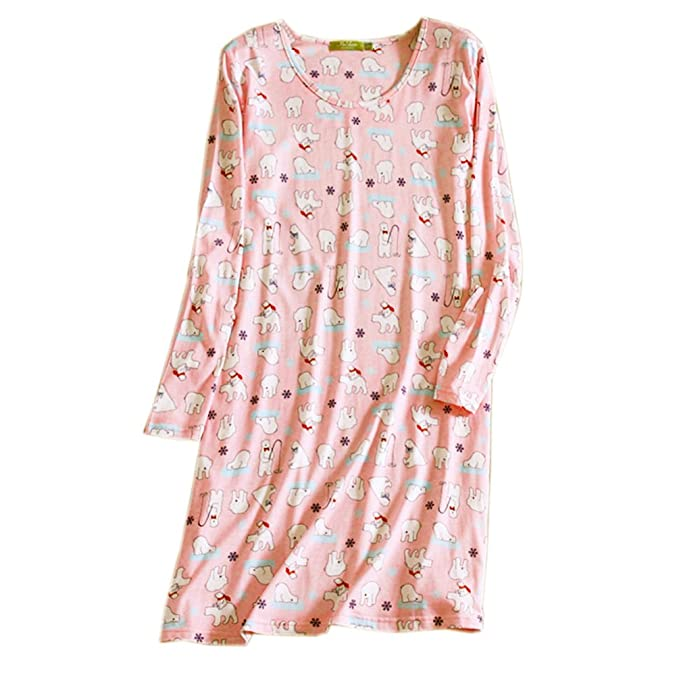 ENJOYNIGHT Women\'s Cotton Sleepwear Long Sleeves Nightgown Print Tee ...