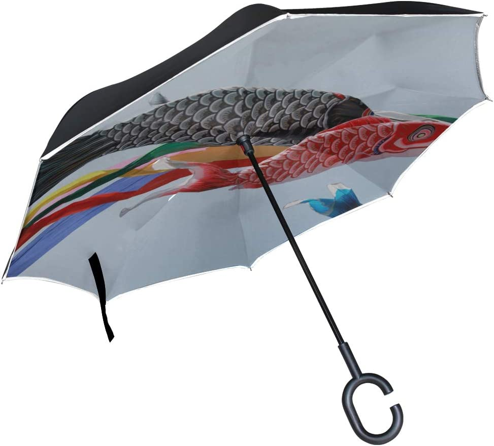 Double Layer Inverted Inverted Umbrella Is Light And Sturdy Japanese Koi Carp Flag Texture Reverse Umbrella And Windproof Umbrella Edge Night Reflect