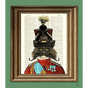 Regimental Soldier Kitty In a Shako Hat With Super Epic Handlebar Mustache Illustration Beautifully Upcycled Dictionary Page Book Art Print