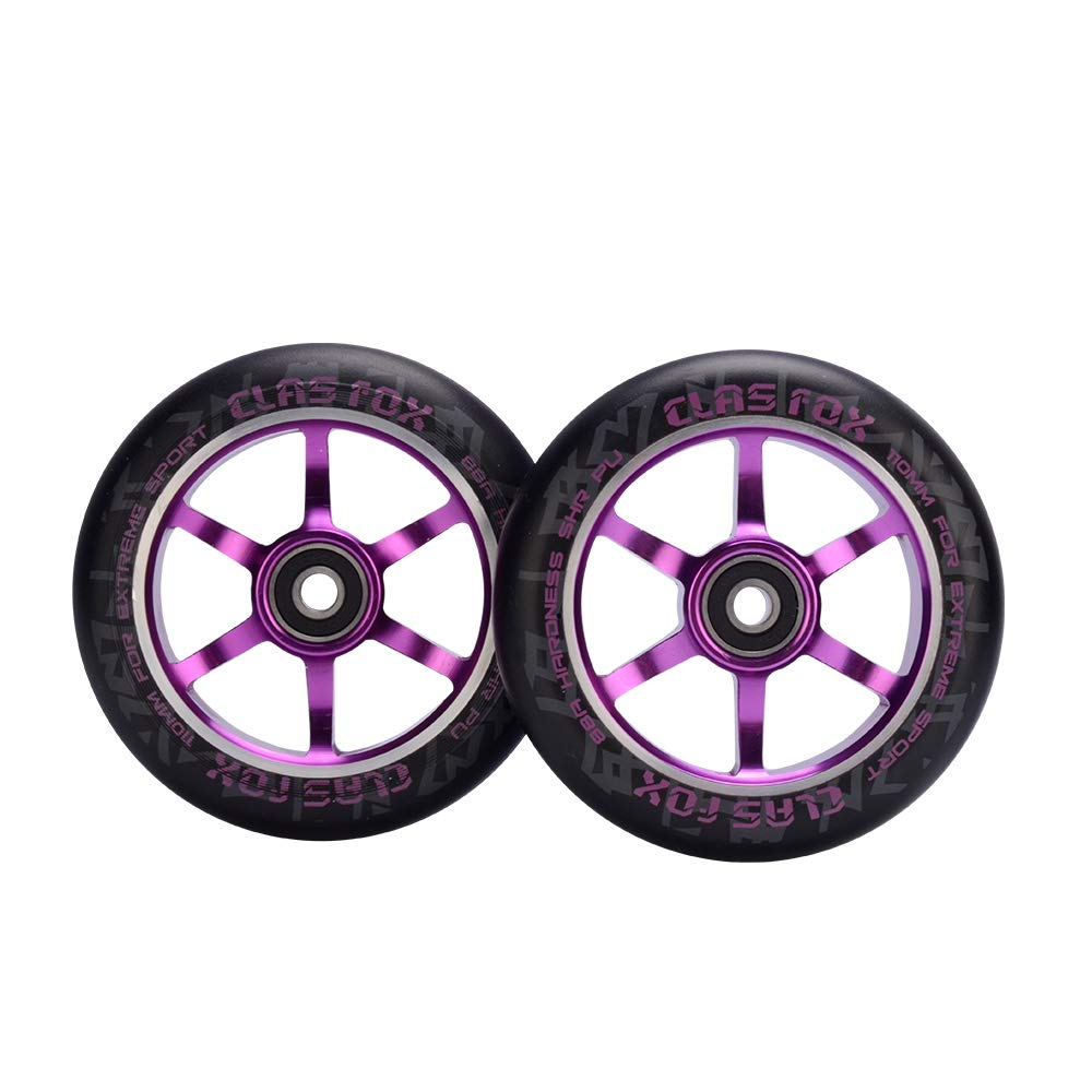 CLAS Fox Pro Scooter Wheel One Pair 110mm with Bearings Fit for MGP//Razor//Lucky//Envy//Vokul Pro Scooters Replacement Wheels 2pcs