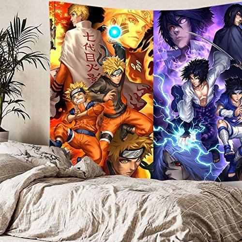 supulu Tapestry Wall Hanging, 3D Naruto Wall Tapestry Anime Tapestries Wall Art Aesthetic Home Decorations for Living Room Bedroom Dorm Decor Color 8,59.1 x 78.8