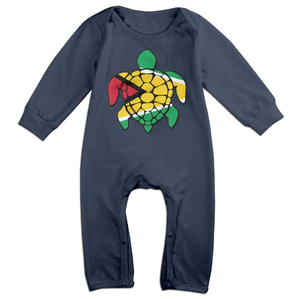 Mri-le1 Toddler Baby Boy Girl Bodysuits Guyana Flag Turtle Infant Long Sleeve Romper Jumpsuit