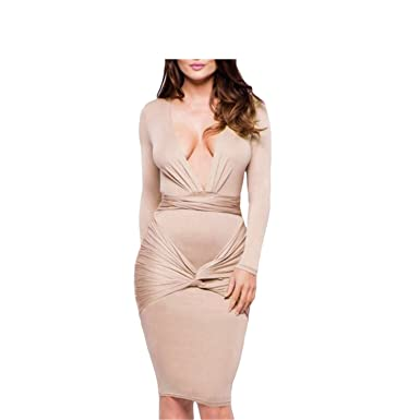 Eloise Isabel Fashion dress pencil dress casual mulheres v-neck manga comprida vestidos de escritório