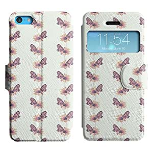 LEOCASE mariposa violeta Funda Carcasa Cuero Tapa Case Para Apple iPhone 5C No.1003709