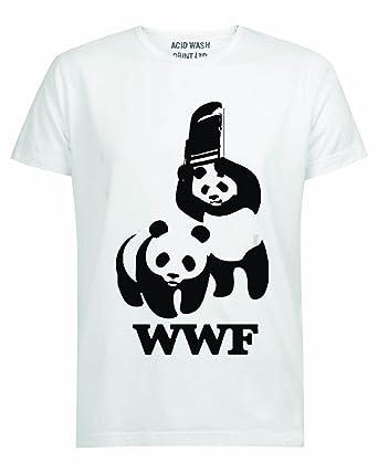 12ad6fd07 ACID WASH PRINT LTD WWF Panda Wrestling Save The Panda Funny White T-Shirt:  Amazon.co.uk: Clothing