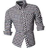 Jeansian Men's Slim Fit Long Sleeves Casual Shirts 8523