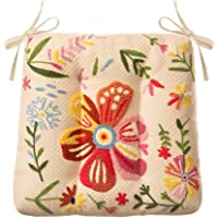Chair Pad Seat Cushions Dining Chairs Pads with Ties Embroidered Flower Cushion Soft Comfy Seating (Color : Beige*1…