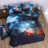Alicemall 3D Galaxy Bedding Outer Space Galaxy Blue Home Textile Fabric Polyester 4-Piece Duvet Cover Sets, Cal King Size Bed Sheets Set (Blue&Orange, California King)