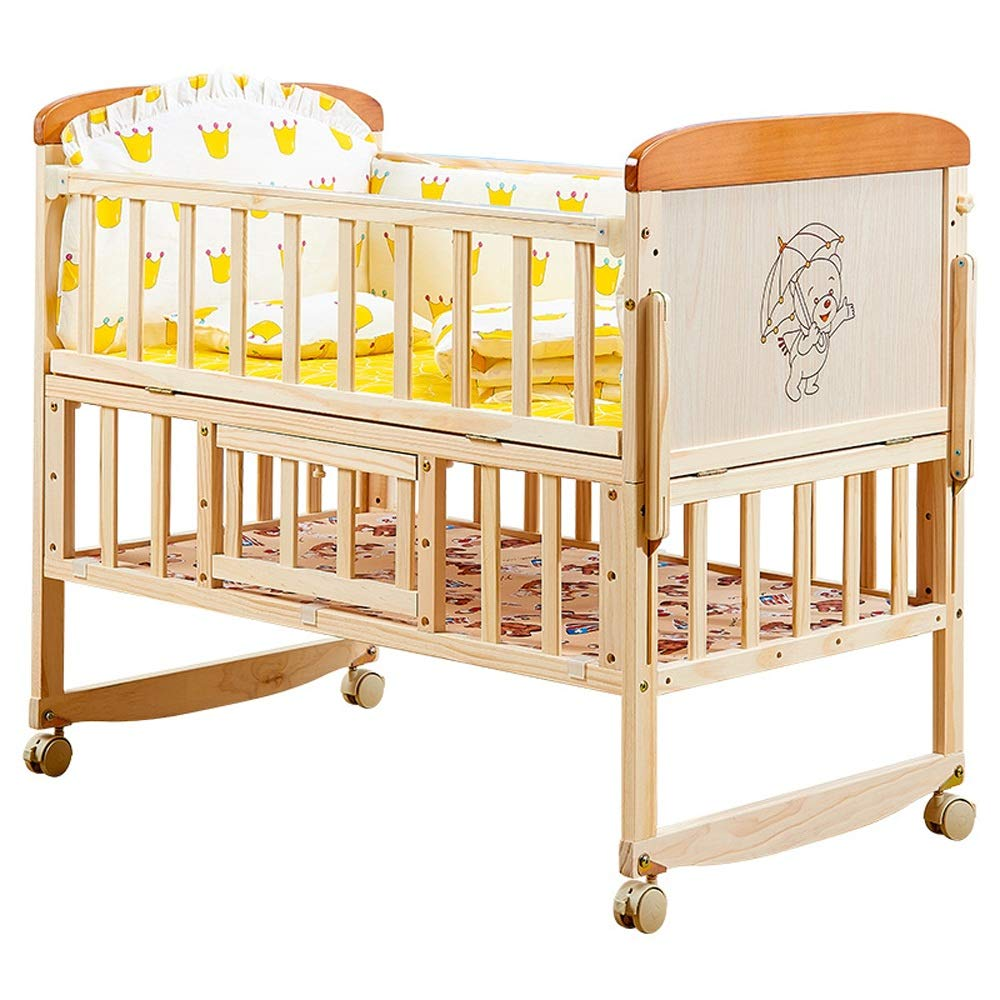 Baby Cot 2-Tier Adjustable Height Multifunction Solid Wood Crib Without Paint Variable Desk Cradle Bed Suitable for Babies to Sleep A Good Gift for Your Baby (Color : Natural, Size : 1046087cm) by Jdeepued
