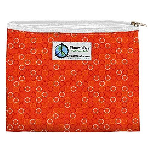 Planet Wise Reusable Zipper Sandwich and Snack Bags, Sandwich, Tangerine Bubbles (Planet Wise Wet Bag Orange)