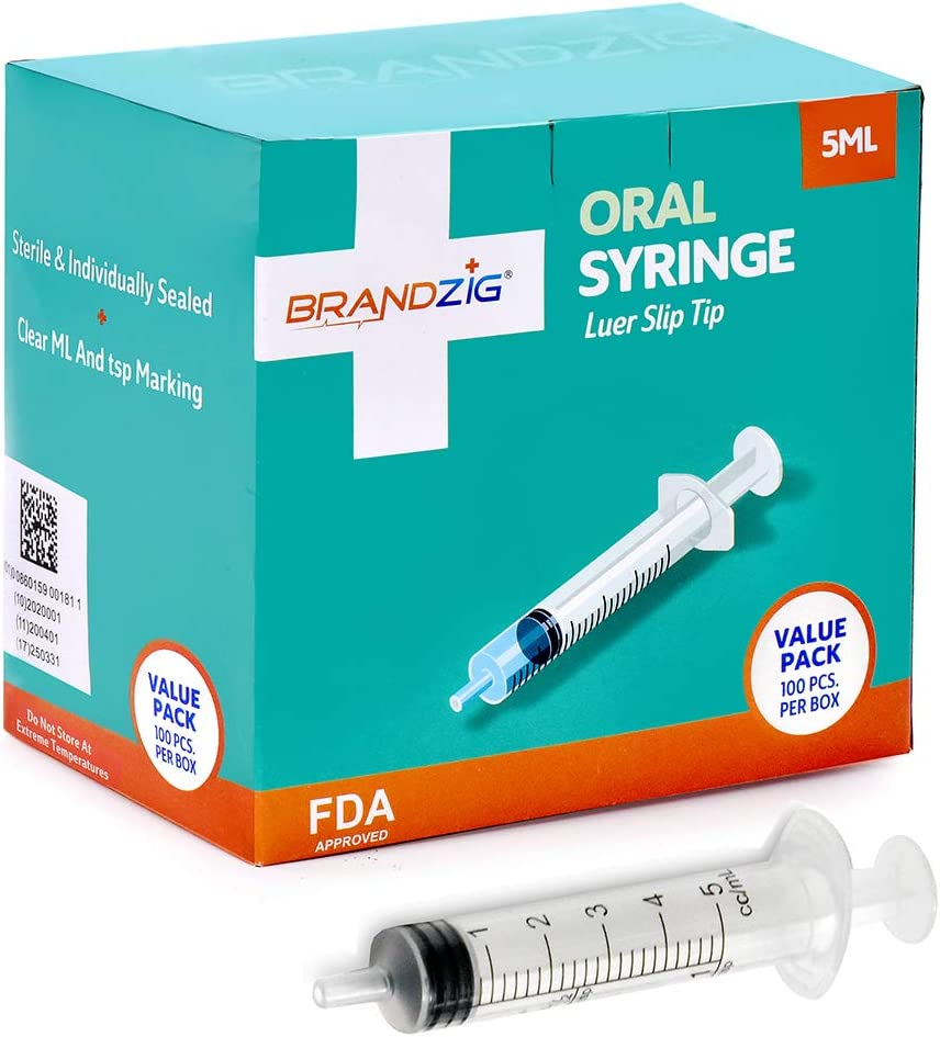 5ml Oral Syringes - 100 Pack – Luer Slip Tip, No Needle, Individually Blister Packed - Medicine Administration for Infants, Toddlers and Small Pets (No Cover): Health & Personal Care