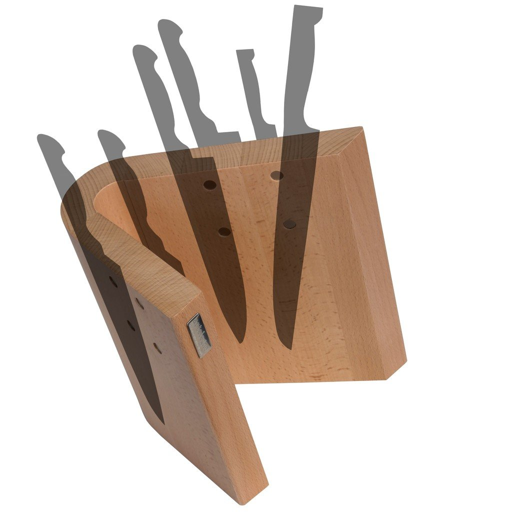Arte Legno Magnetic Knife Block and Elegant Kitchen Display - Curved Design - Stain Resistant Natural Beechwood - Handcrafted in Italy - 10 Knife Capacity by Arte Legno