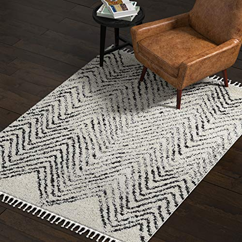 Rivet Contemporary Area Rug, 5 3 x 7 7 , Off White