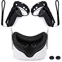 Zivasa Touch Controller Grip Cover for Oculus Quest 2 Silicone and Face Cover Pad، أحزمة مفاصل يد قابلة للتعديل وأشرطة…