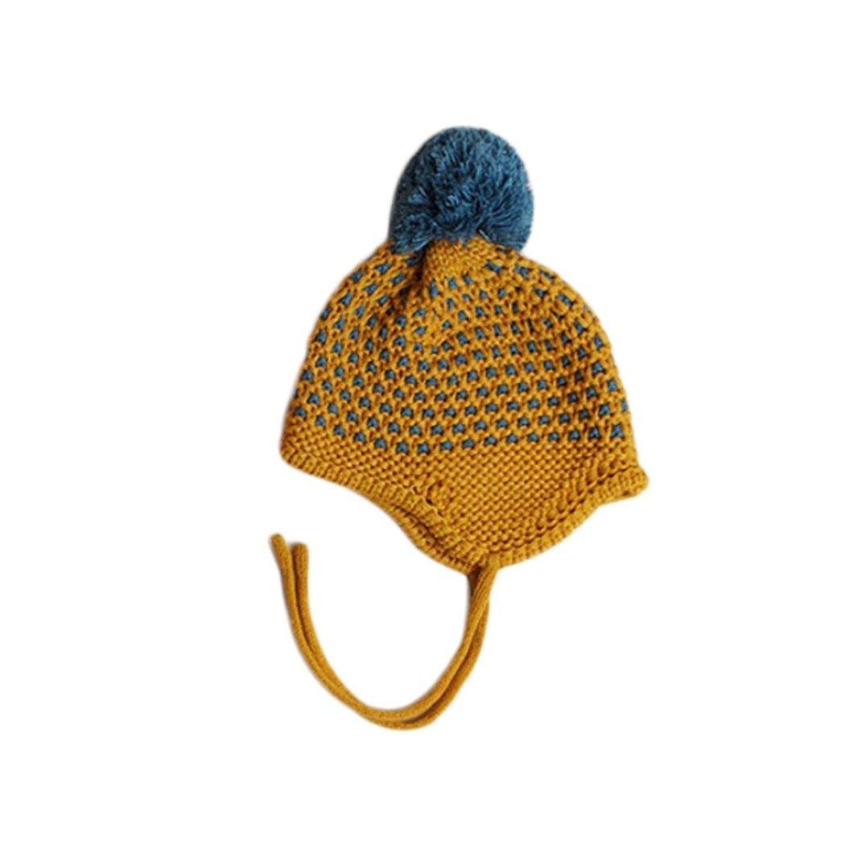 Kingko Baby Hats Winter Warm Toddler Newborn Hairball Cap Hat Boy Girl Beanie Ear capHat Crochet Hat Cute