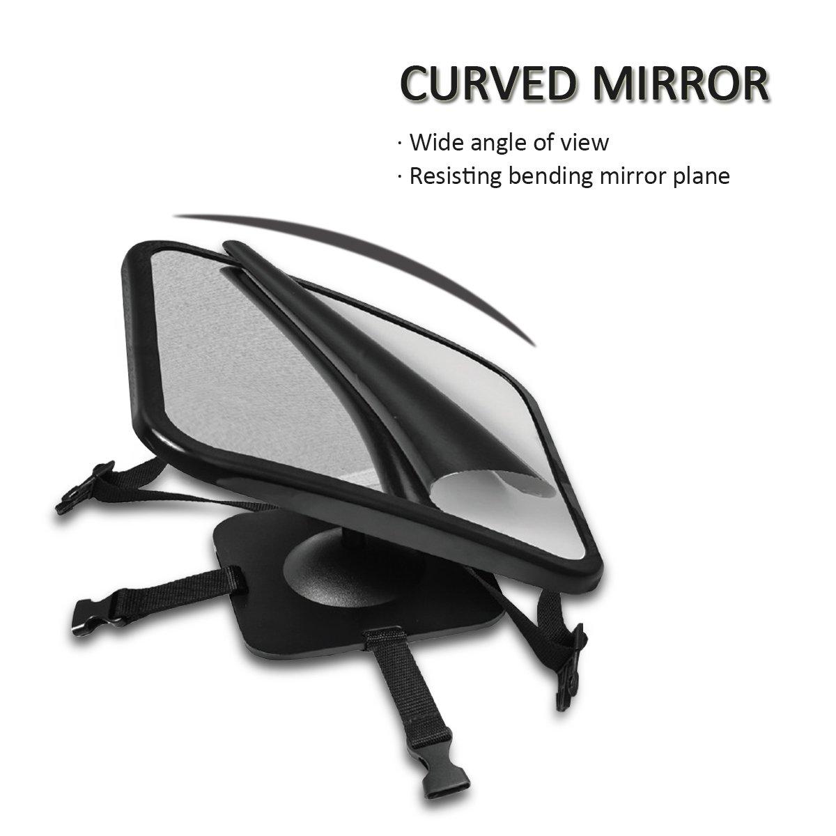 SONARIN Premium Quality Baby Car Mirror Negro Espejos para asientos traseros,se adapta a cualquier reposacabezas ajustable,visi/ón clara del beb/é en el asiento trasero del autom/óvil,rotaci/ón de 360 /°