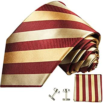 Corbata de color rojo burdeos oro Paul Malone 100% Seda para Hombre corbata + gemelos + incluye pañuelo