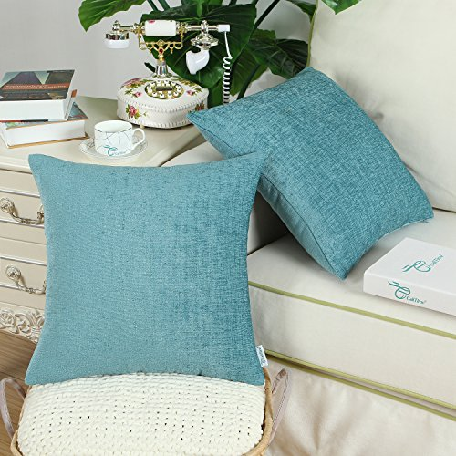 Pack of 2 CaliTime Throw Pillow Covers Cases for Couch Sofa Home Decor, Solid Dyed Soft Chenille, 18 X 18 Inches, Teal