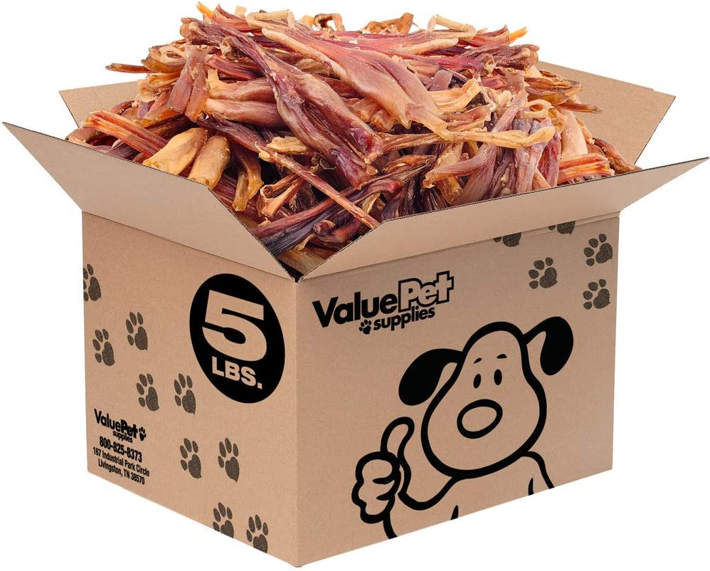 ValueBull New Beef Tendons for Dogs, Slim 5-10 Inch, Varied Shapes, 5 Pound - All Natural Dog Treats, Pure Beef Tendons, Rawhide Alternative, Grain Free Achilles Tendon