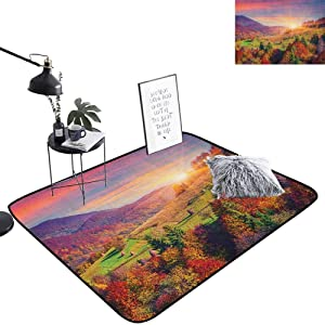 lacencn Nature Bar Mat Pastoral Autumn Morning in Mountain Village Fall Tree Surreal Rural Print Bedroom Rugs Super Soft and Cozy for Living Room Kids Room, W31 x L47 Red Purple Green