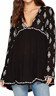 a3ce80330a1ff Free People Womens Crochet Back Gauze Button-Down Top Black S at ...