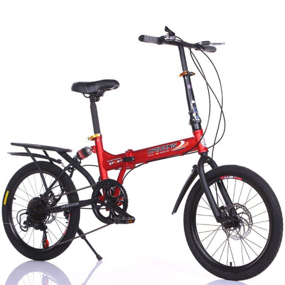 学生折りたたみ自転車, 子供用折りたたみ自転車 変数 6 速 シマノ 男性と女性 山 ギフト 大人 折りたたみ自転車 折り畳み自転車 B07DGDBH48 赤 20inch
