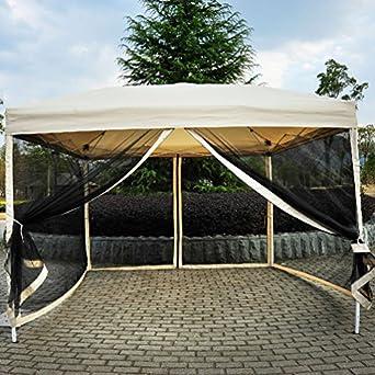 Outdoor Gazebo Canopy 10u0027 X 10u0027 Pop Up Tent Mesh Screen Patio Shade Tan