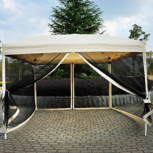 Outdoor Gazebo Canopy 10' x 10' Pop Up Tent Mesh Screen Patio Shade tan