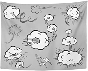 Remain Unique Tapestry Effect of Speed in The Style Comics Blasting Clouds with Moving Trails Jump Wall Hang Decor Indoor House Made in Soft
