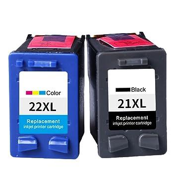 Ink Jungle - Cartuchos de tinta reciclados equivalentes a los modelos 21XL y 22XL de HP para impresora HP Deskjet F370, F375, F380, F390, 3920, 3940, ...
