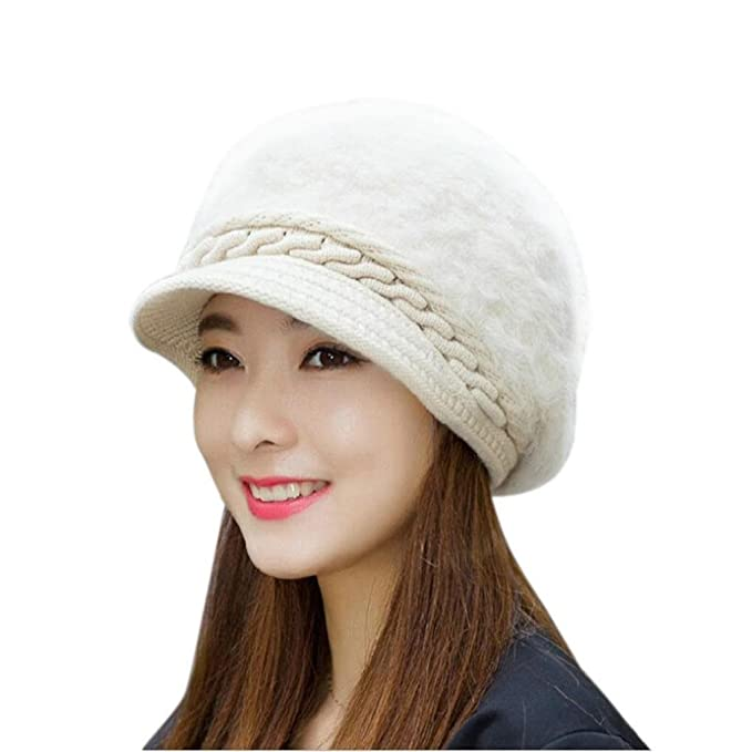 Koly Women s Hat Winter Skullies Beanies Knitted Warm Soft Faux Fur Cap ( Beige) e8d9f6597564