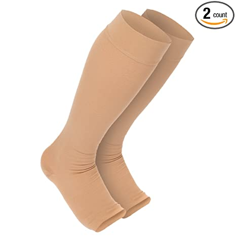 c0a60f9924 Maternity Compression Stockings: Premium Open Toe Pregnancy Socks With  Guaranteed Joint & Muscle Pain Relief