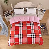 Zhiyuan Plaid Pattern Brushed Microfiber Duvet Cover, Red, Twin