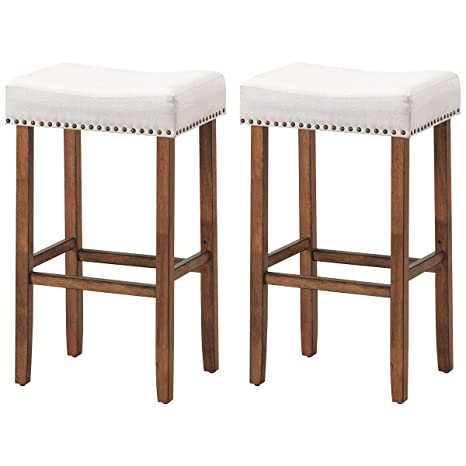 Marvelous Costway Set Of 2 Saddle Bar Stools 29 5 H Backless Counter Stools Brass Nailhead Studs Upholstered Sponge Cushion Solid Rubber Wooden Legs Cjindustries Chair Design For Home Cjindustriesco
