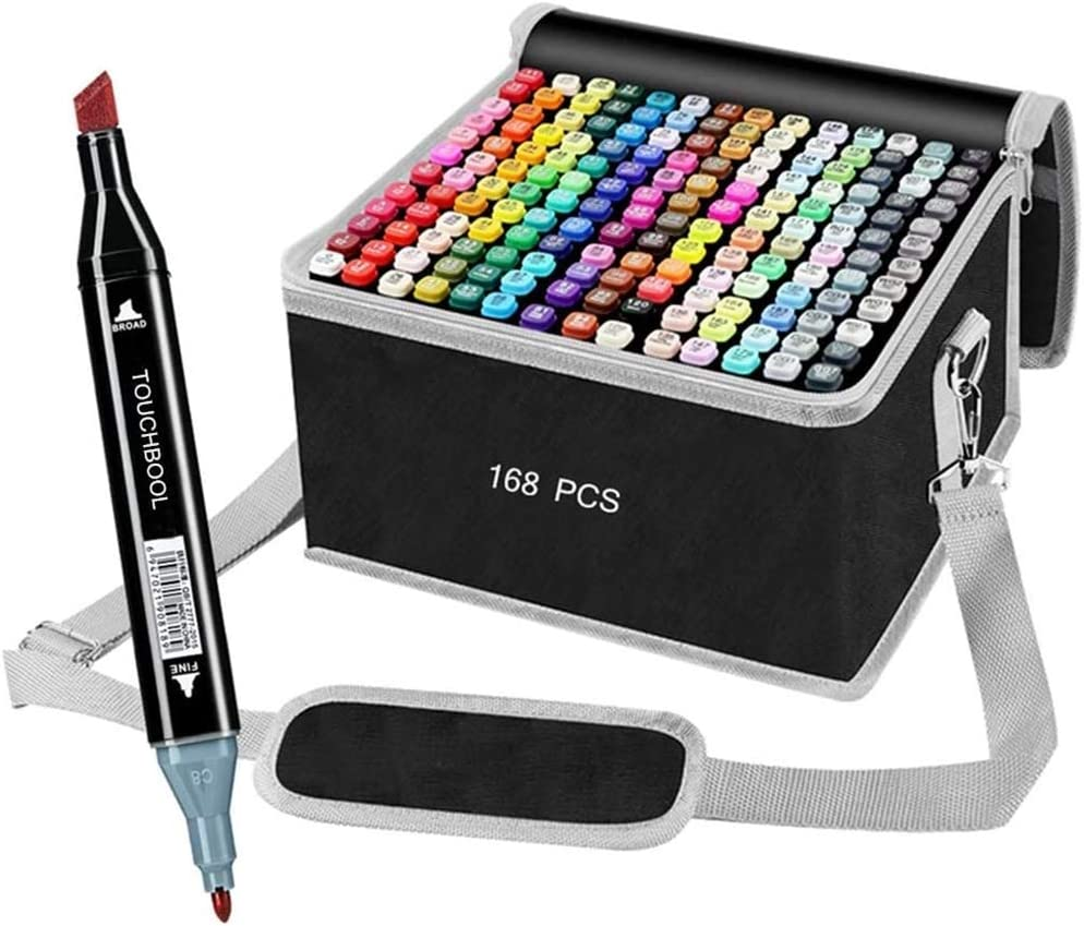 168 Color Alcohol Markers Pen Set for Drawing, Dual Tipped Artist Art Markers,Kids Sketch Markers, Adult Coloring and Illustration