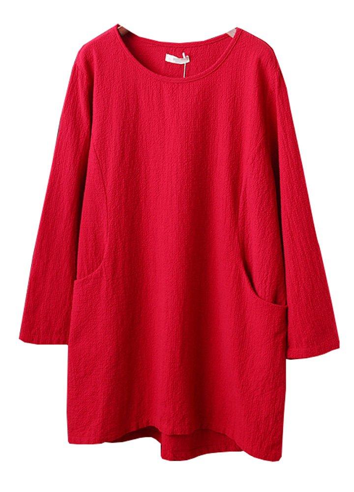 Minibee Women's Cotton Linen 4/5 Sleeve Tunic/Top Tees (2XL, Red)
