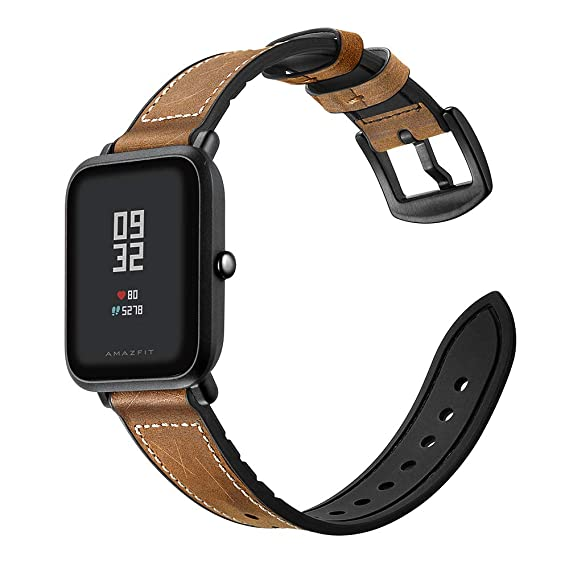 Amazon.com: SIKAI Leather Silicone Band Amazfit Bip Quick ...