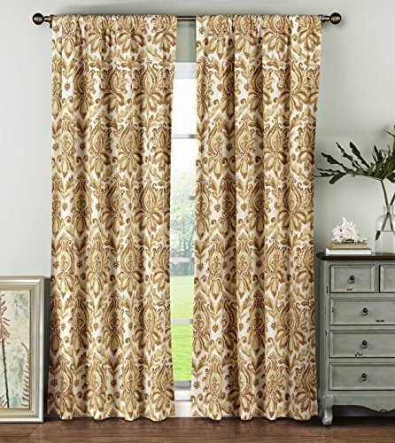 Window Elements Biltmore 100% Cotton Rod Pocket Extra Wide 104″ x 84″ Curtain Panel Pair, Rust