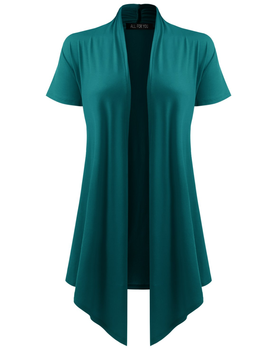 ALL FOR YOU Women's Soft Drape Cardigan Short Sleeve Teal Large