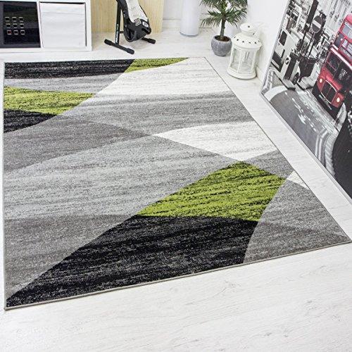 Wohnzimmerteppich Modern Geometrisches Muster Meliert in Grau Weiß Schwarz und Grün - ÖKO TEX Zertifiziert, Maße:120x170 cm