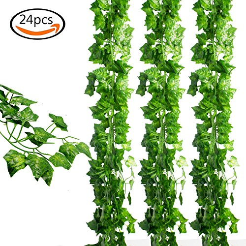 JPSOR 24pcs (157 Feet) Artificial Greenery Fake Ivy Leaves Garland Hanging for Wedding Party Garden Wall (Fake Greenery)