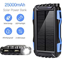 Soyond Solar Phone Charger, Solar Power Bank, 25000 mAh Solar Charger Portable Backup Battery Pack Power Bank Solar Battery Charger Dual USB Waterproof Led Light (Blue_25000mAh)