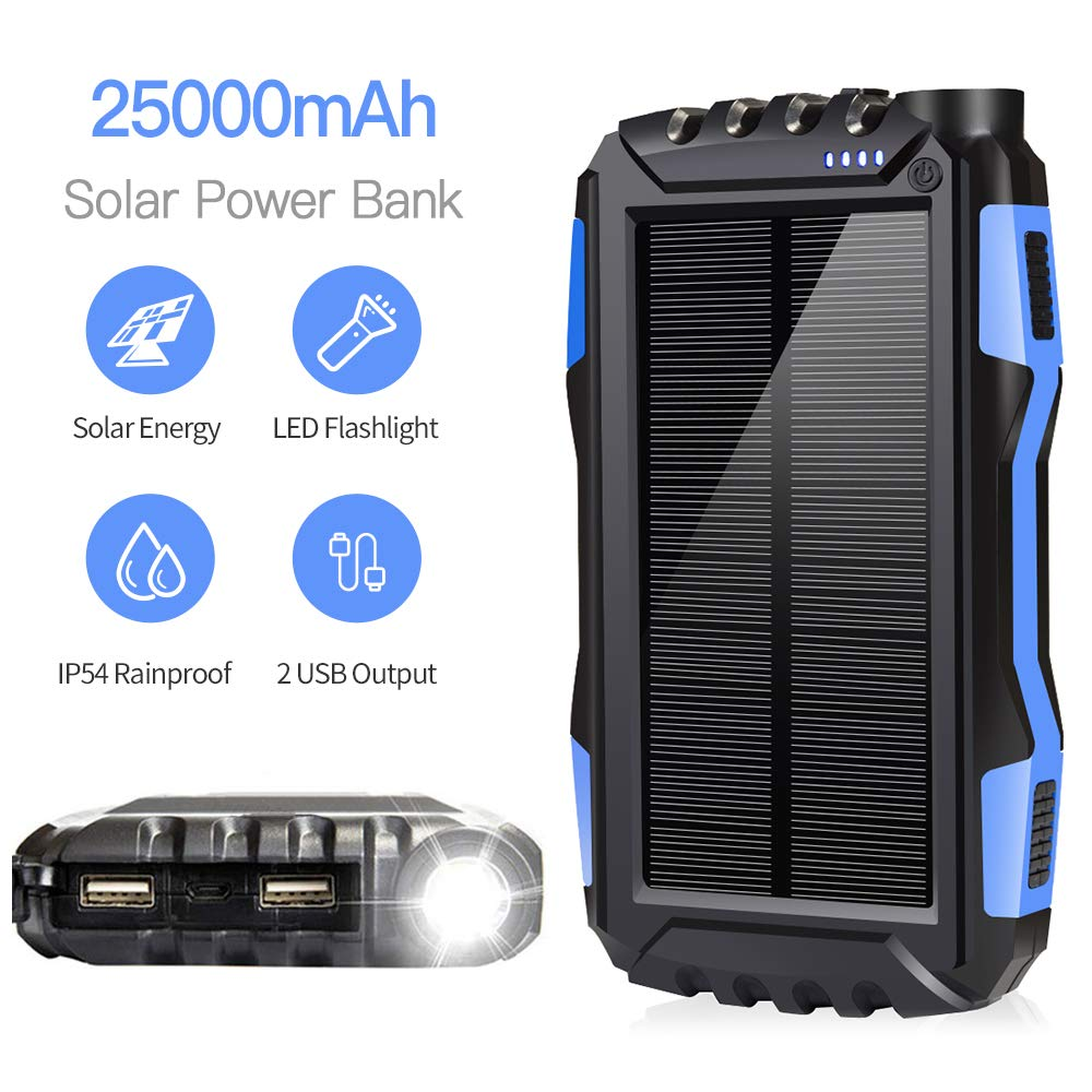 Solar Charger, Solar Panel Chartger, Soyond 25000 mAh Solar Power Bank Portable Backup Battery Pack Power Bank Solar Battery Charger Dual USB Waterproof Led Light Blue_25000mAh