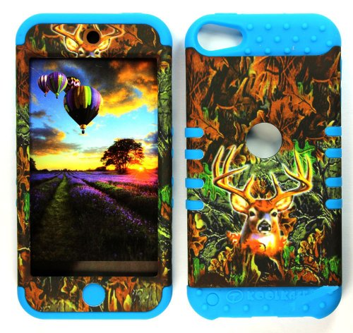 CellPhone Trendz Hybrid 2 in 1 Case Hard Cover Faceplate Skin Blue Silicone and Camo Mossy Hunter Deer Snap Protector for Apple iPod iTouch 5 (5th Generation)