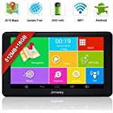 SAT NAV GPS Navigation System, Jimwey 7 Inch Bluetooth Android 16GB 512MB Capacitive HD Touch Screen Car Truck Lorry Satellite Navigator Device with Post Code Search Speed Camera Alerts, Include Pre-installed UK and EU Latest 2018 Maps with Lifetime Free Updates (7 inch TH)