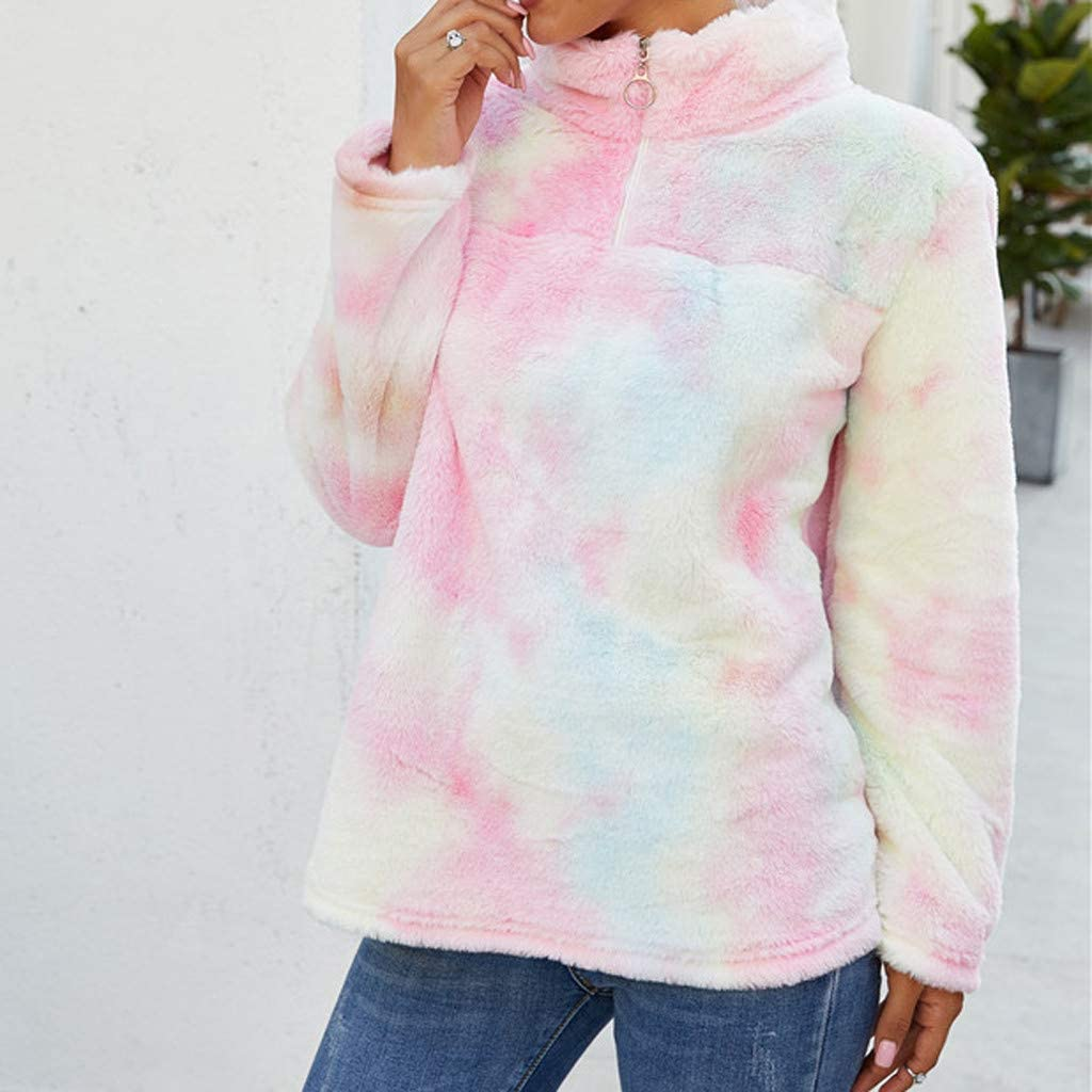Hamleo Women Tie dye Hoodie Sweatshirt Fuzzy Fleece Hoodie Pullover Tops,Womens Zipper Casual T-Shirt with Pockets