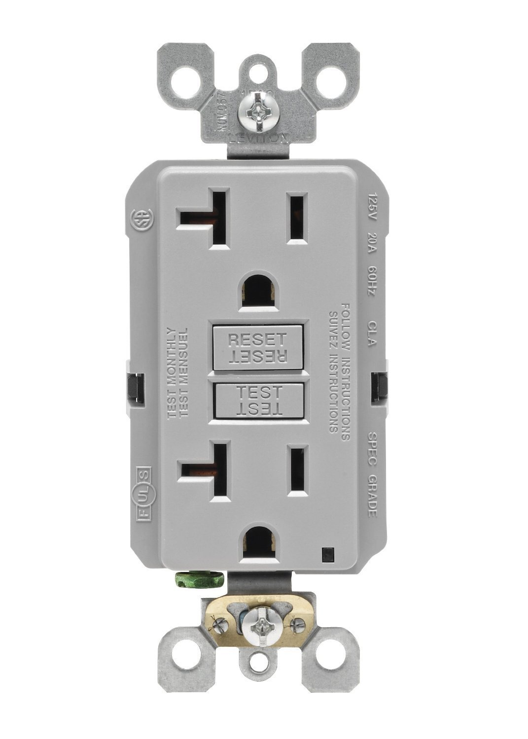 Leviton GFNT2-GY Self-Test Smartlockpro Slim GFCI Non-Tamper-Resistant Receptacle with LED Indicator, 20-Amp, 10 Pack, Gray